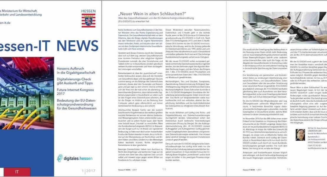 Der Artikel in der Hessen-IT News 01/2017 beschäftigt sich mit der EU-Datenschutzgrundverordnung. Prof. Dr. Dirksen klärt, was das Gesundheitswesen von der EU-DSGVO zu erwarten hat.